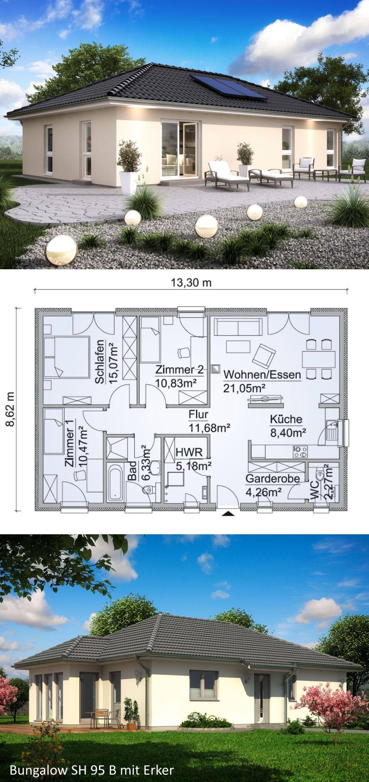 Bungalow haus neubau grundriss klassisch mit walmdach for Architektur klassisch