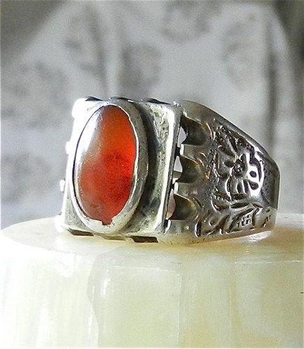Old Turkoman Silver Ring, Carnelian Oval Cabochon and Engraved Band