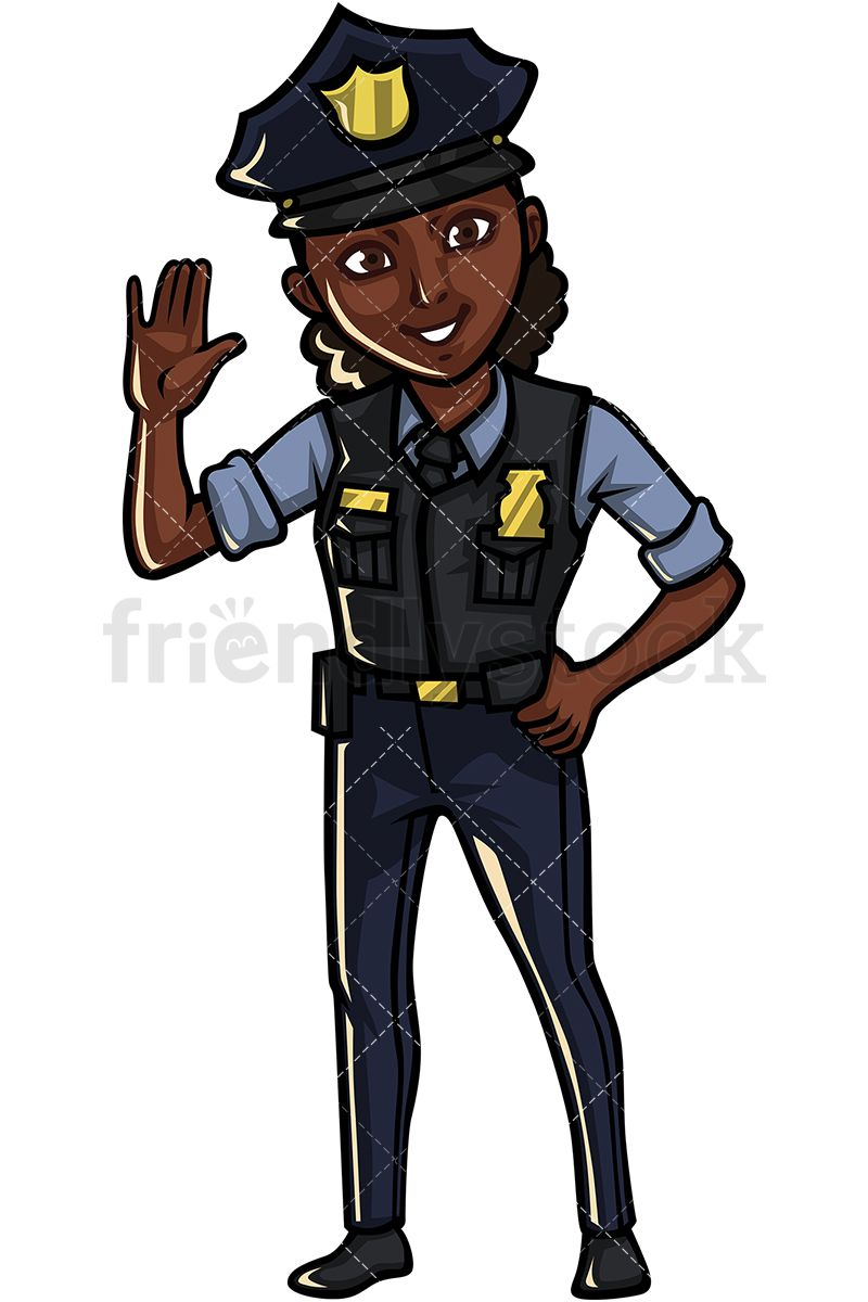 Black Policewoman In 2019 Art Vector Clipart Free Vector