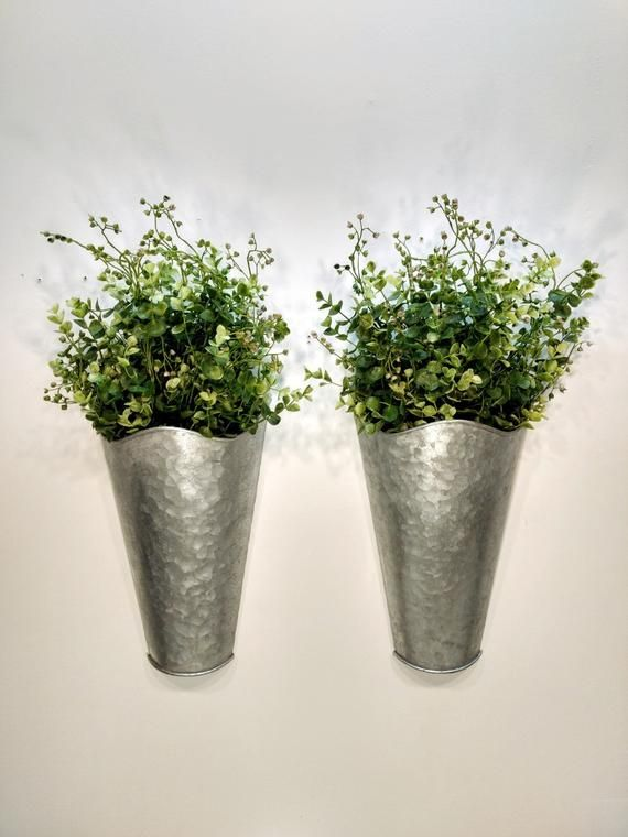 Galvanized wall pocket. large wall sconce, Wall decor with ... on Wall Sconces For Greenery Decoration id=28901