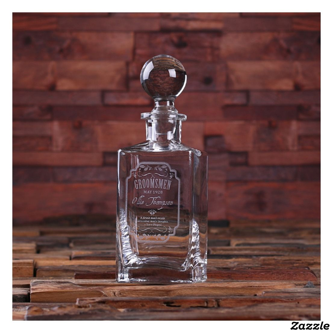 Personalized Whiskey Decanter W Round Bottle Lid Zazzle Com Personalized Whiskey Decanter Personalized Whiskey Whiskey Decanter