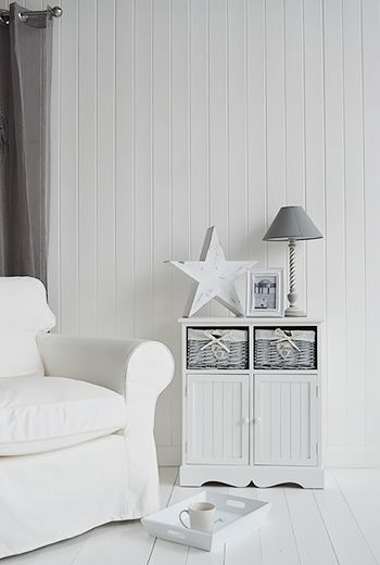 Living room white storage furniture