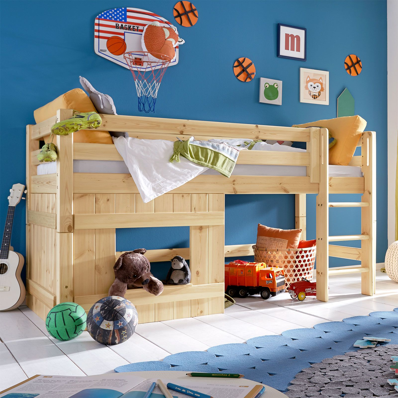 h tten hochbett kids paradise f r jungen inklusive roll lattenrost kinderzimmer. Black Bedroom Furniture Sets. Home Design Ideas