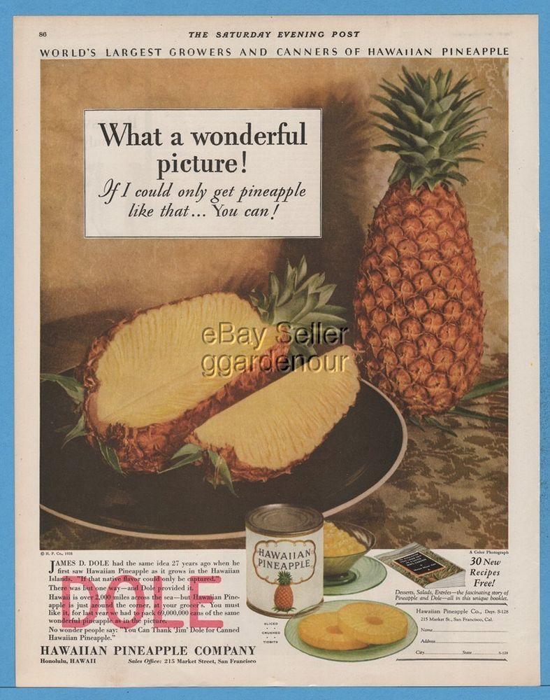 1928 Dole Hawaiian Pineapple Canned Foods Vintage 1920s