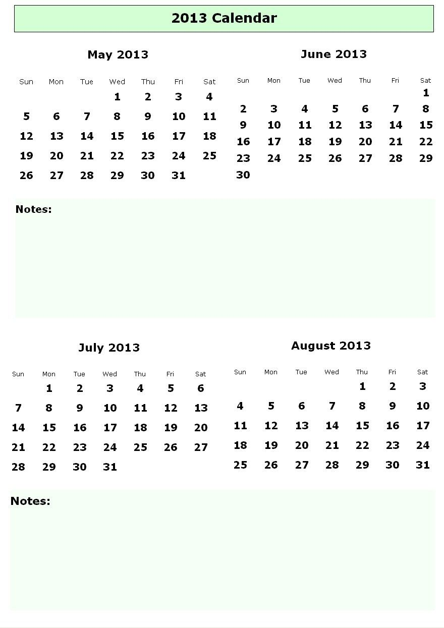 Blank Calendar Template June July August 2013 Printable Calendars