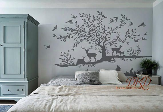 Tree Wall Decal Woodland Wall Decor Grey Birch Tree With In