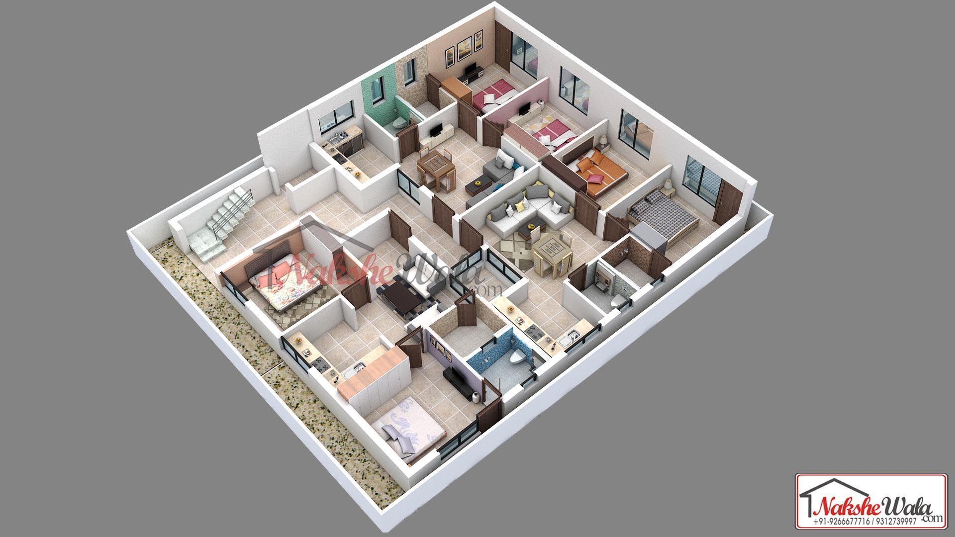 5 Bhk Flats 3d Floor Plan Home Design Plans Floor Plan Design Floor Plan Layout