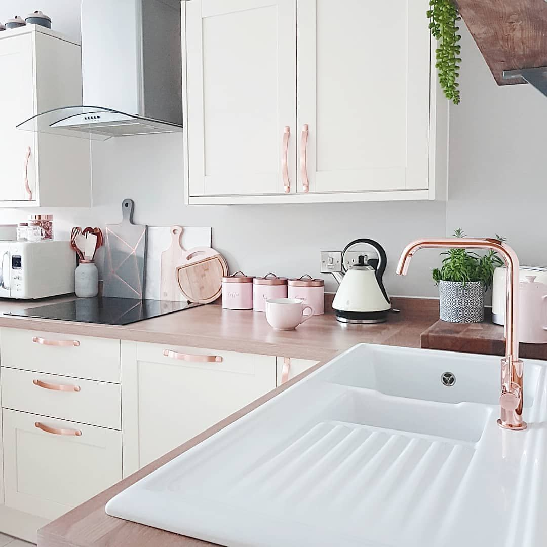 Rose Gold Tap And Kitchen Cupboard Handles In 2020 Rose Gold Kitchen Kitchen Cupboard Handles Gold Kitchen
