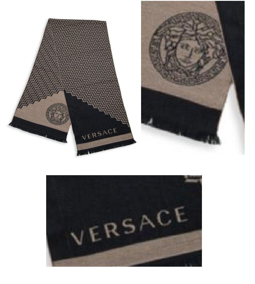 f7d4629e0 Versace Unisex Zig-Zag Patterned Wool Scarf Medusa Men Women Beige Brown  Black #Versace #Scarf