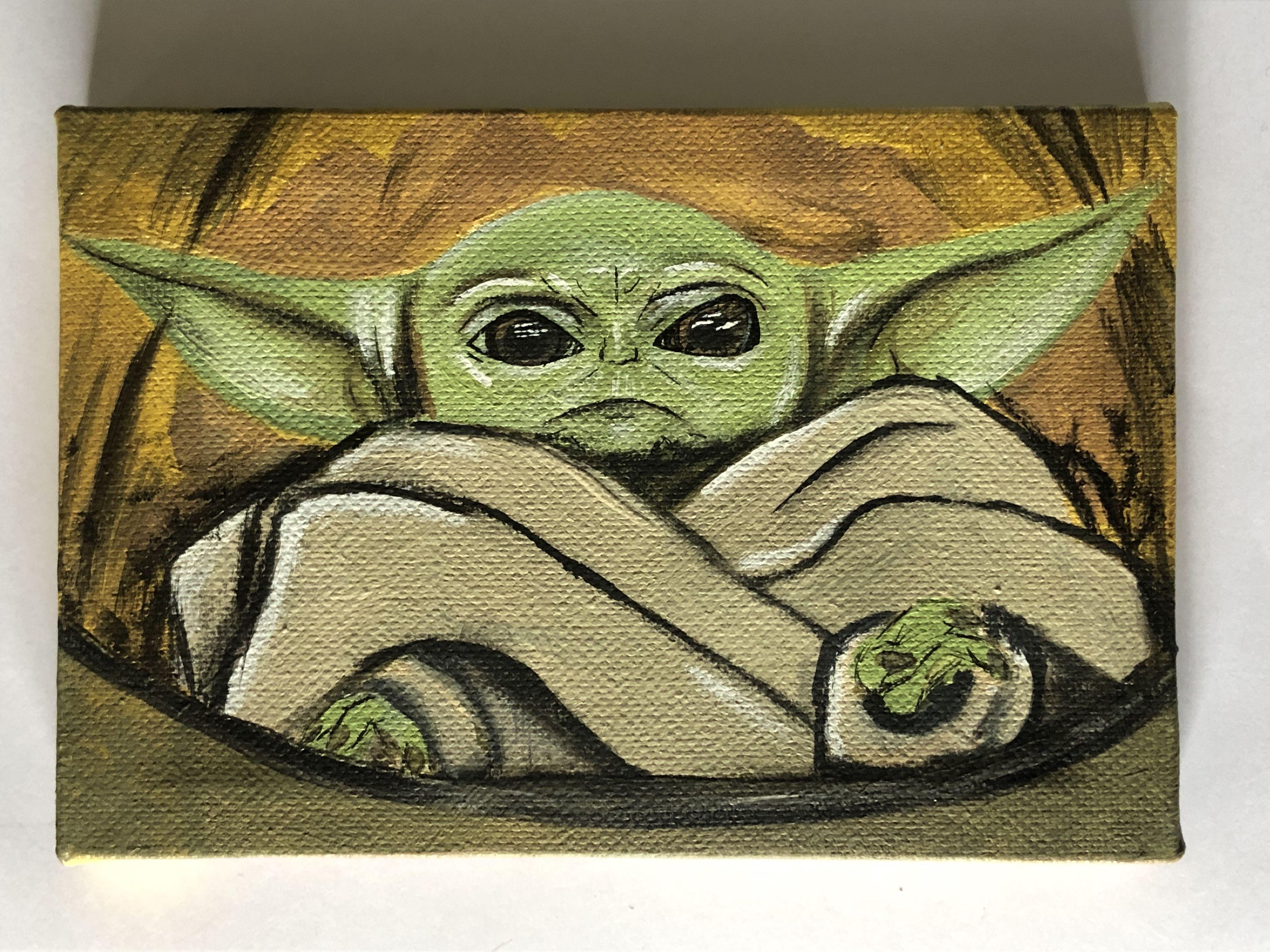 Baby Yoda Disney Art The Mandolorian Star Wars Painting Elephant Painting Canvas Yoda Canvas