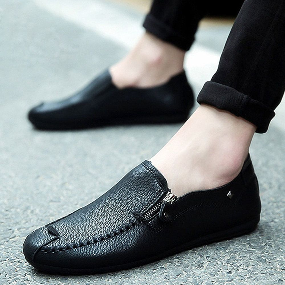 Men Hand Stitching Leather Side Zipper Casual Driving Shoes is part of Moccasins mens -