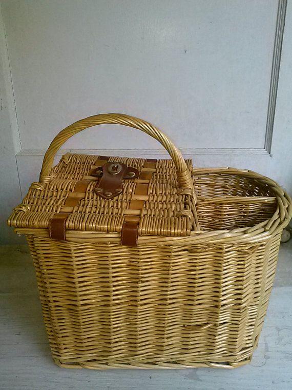 Picnic Basket Wine Bottle Holder Vintage By Sagesensations 32 00