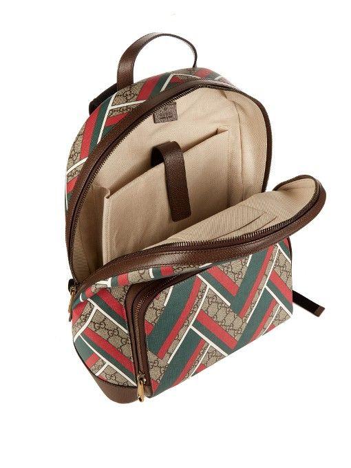 332870935bf2 Gucci GG Supreme Chevron-print backpack | ACC | Gucci, Menswear ...