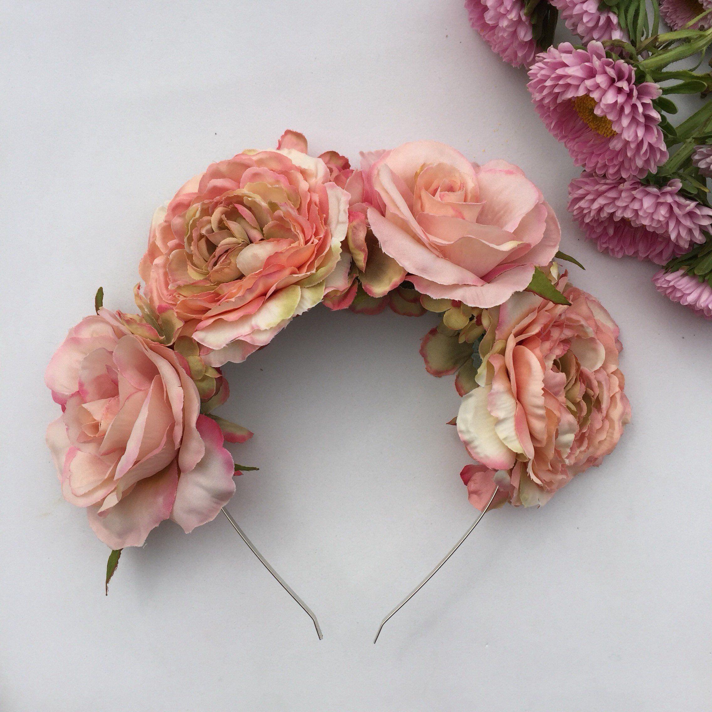Antique rose pink flower crown pink peony hair flower wedding antique rose pink flower crown pink peony hair flower wedding crown peony izmirmasajfo