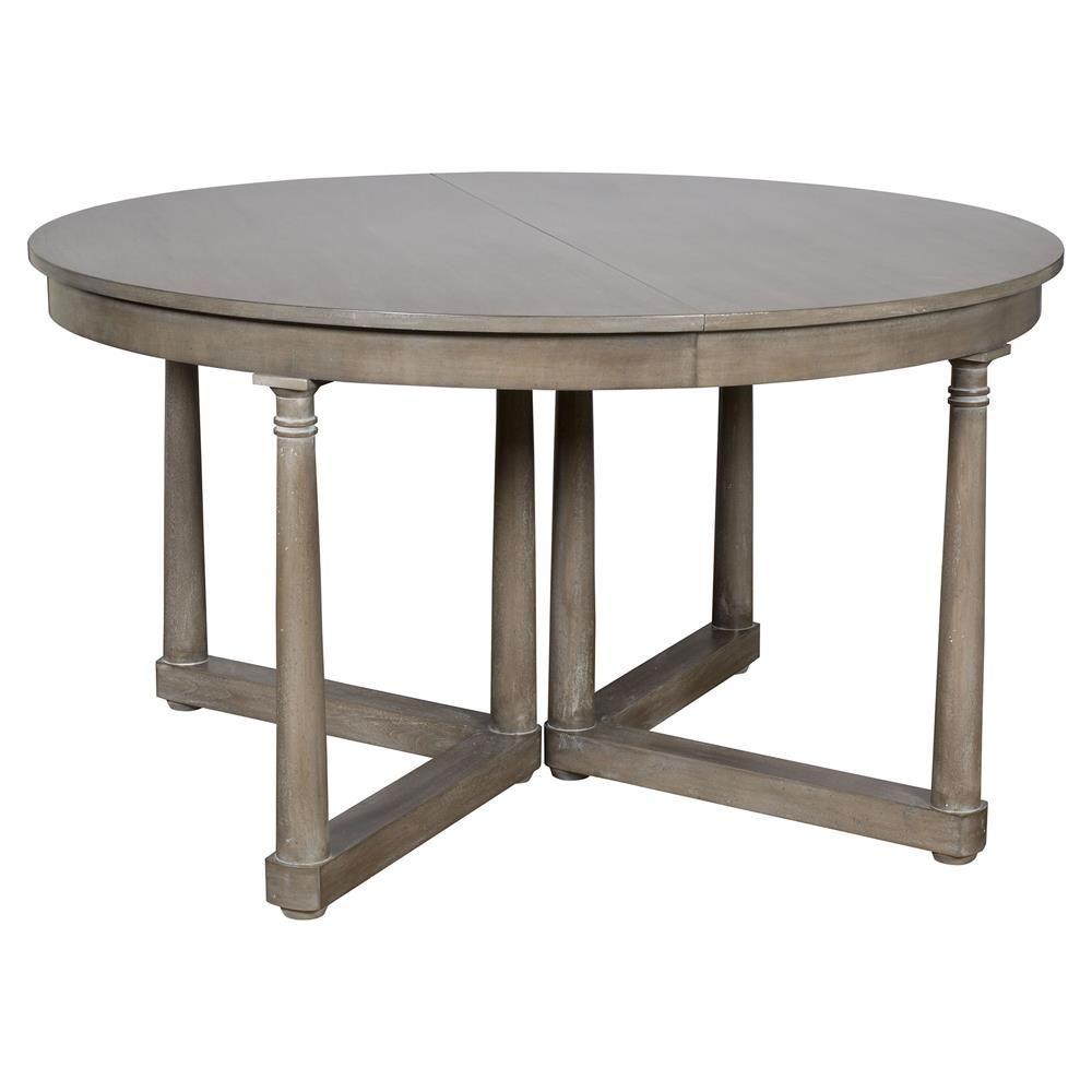 Vanguard Callas Rustic Grey Brown Extendable Round Dining Table