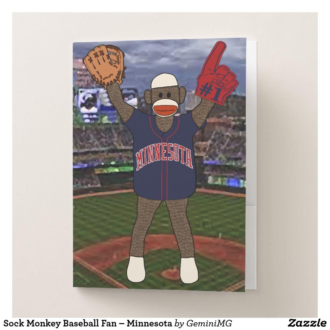 Sock Monkey Baseball Fan – Minnesota Pocket Folder | Zazzle.com #sockmoneky