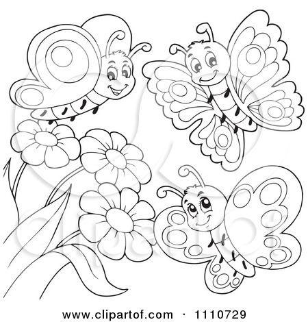Butterfly with Flowers Coloring Pages  Clipart Outlined
