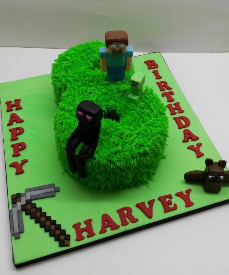 Minecraft Cake Chocolate Sponge Number 8 Birthday Cake With