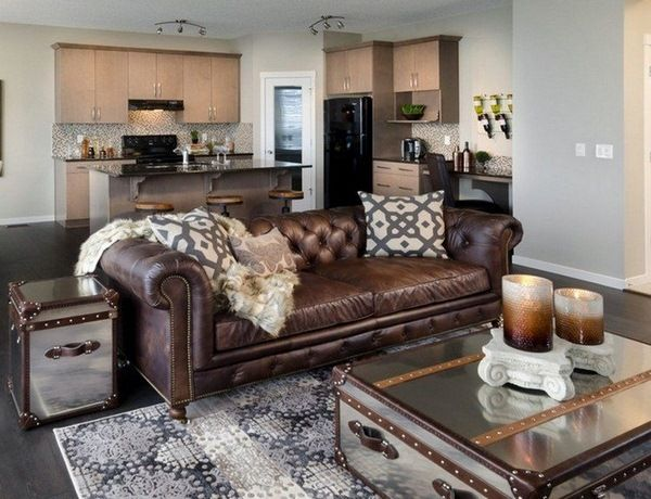 brown leather sofa chesterfield living room coffee table chest mirrored surface - Living Room Leather Sofas