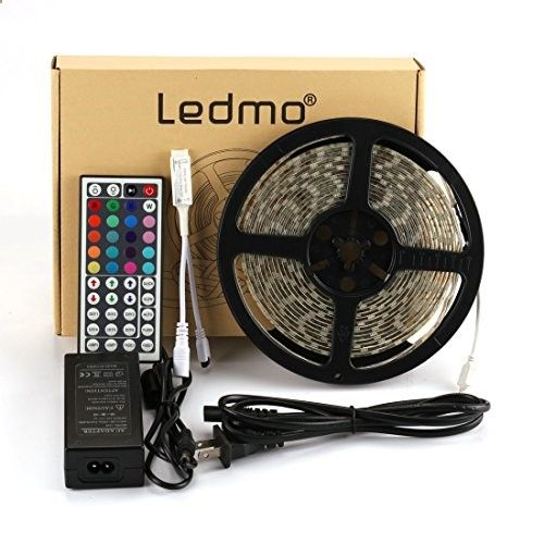 LEDMO 5050 RGB LED Strip Light Kit (Waterproof 16.4ft 300LEDs, Color Changing SMD5050 RGB, LED Tape Light, Including a 44-key RGB Remote Control  a 12VDC/5A Power Supply)