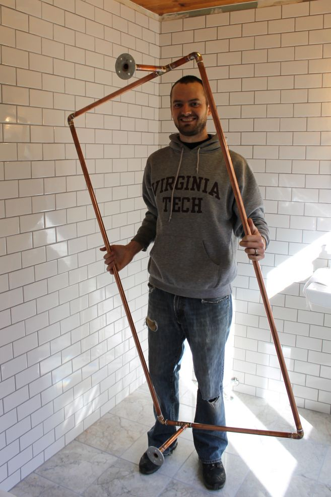 DIY Copper Shower Curtain RodDIY Copper Shower Curtain Rod   Clawfoot tub shower  Shower  . Shower Curtain Ring For Clawfoot Tub. Home Design Ideas
