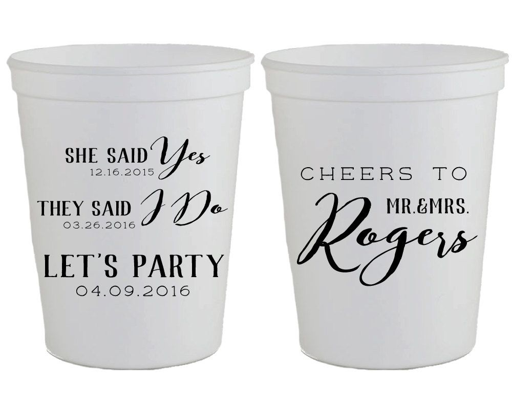 New to SipHipHooray on Etsy: Personalized Wedding Cups Wedding Favors She Said Yes Cheers Wedding Favors Custom Shower Favors Cheers Wedding Cups Wedding Cup 1400 (75.00 USD)