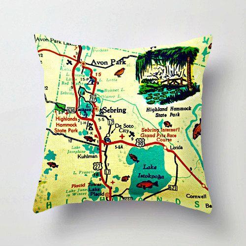 Lake Placid Florida Map.Lake Placid Florida Map Pillow Lake Istokpoga By Vintagebeachmaps