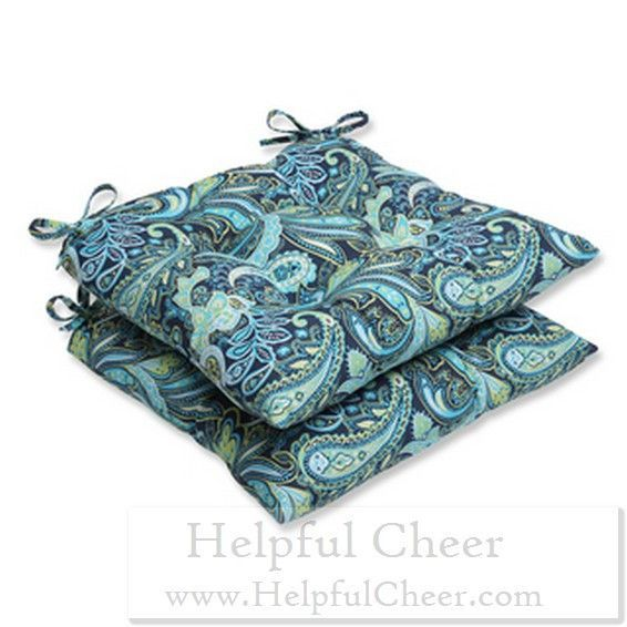 Pillow Perfect Outdoor Pretty Paisley Navy Wrought Iron Seat Cushion Set of 2 - at Ov