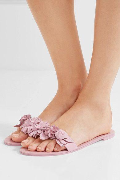 8c3fe9eb8949 Sophia Webster - Lilico Appliquéd Leather Slides - Pink - IT39