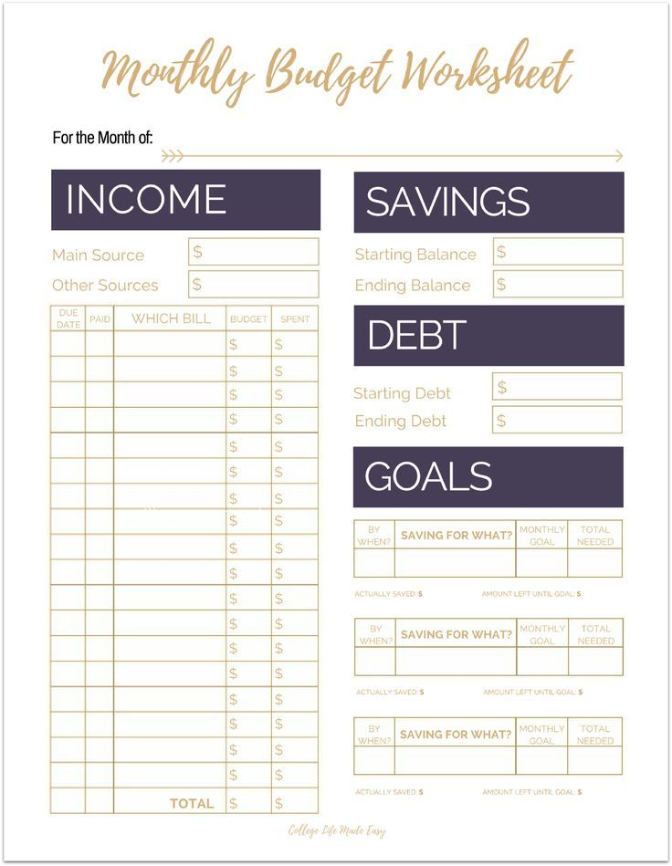 Free Printable Monthly Budget Worksheets Pinterest Printable - free printable budget spreadsheet
