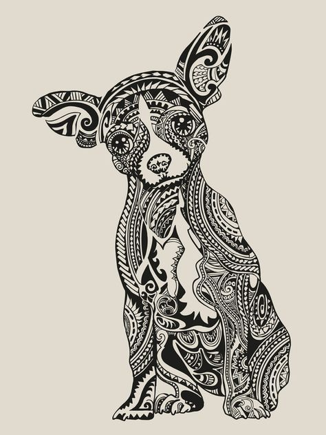 polynesian chihuahua art print coloring pages pinterest