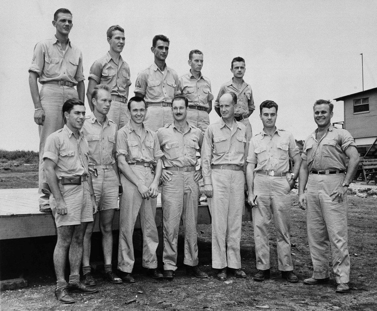 The crew of the Enola Gay after dropping the atomic bomb on Hiroshima via  reddit [