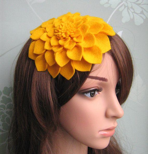 Yellow Felt Hat Dahlia Flower Fascinatorfascinator