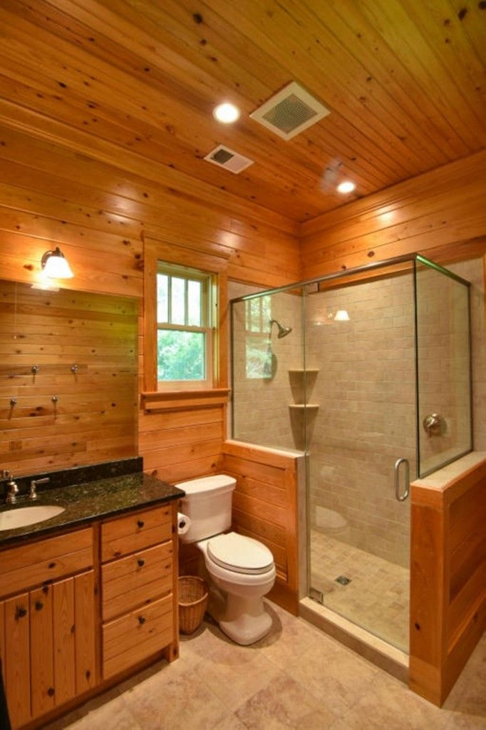 Rustic Small Bathroom Walk In Shower Glass Enclosures Bathroom Design Small Rustic Bathrooms Cabin Bathrooms