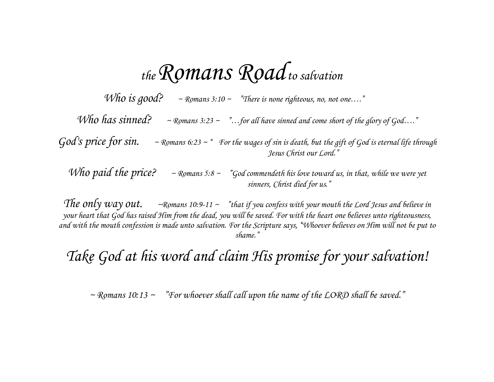 Bewitching image with romans road kjv printable
