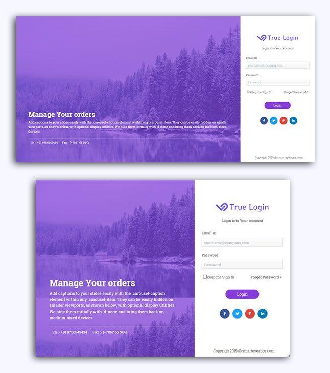 Bootstrap 4 Login Form Html Template In 2020 Login Page Design Login Form Login Design