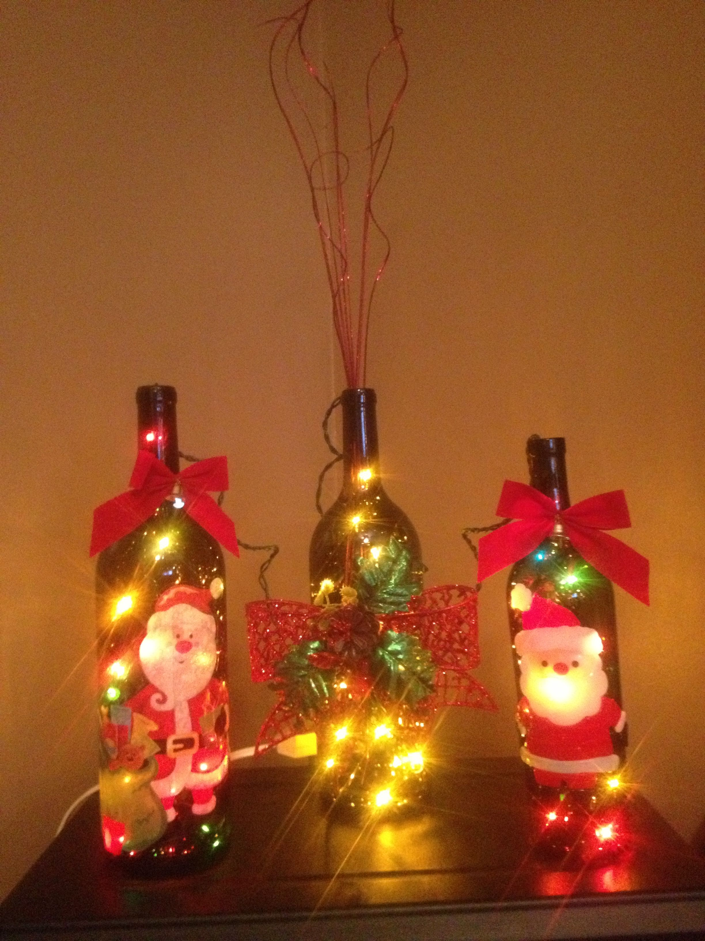 Luminaire Wine Bottles I Made For Xmas