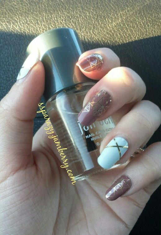 Jamberry mod marsala and gold nail art with Marsala Sky and Gatsby ...
