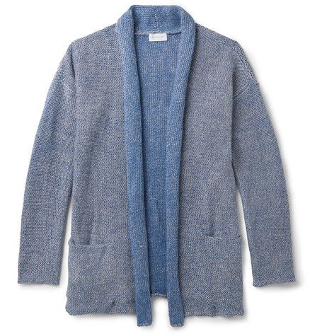 JOHN ELLIOTT Shawl-Collar Mélange Linen and Cotton-Blend Cardigan. #johnelliott #cloth #knitwear