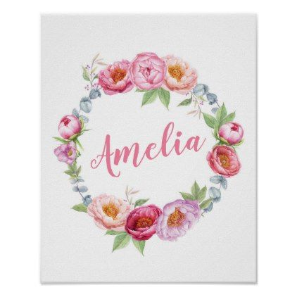 Personalized floral peonies name poster print baby gifts child personalized floral peonies name poster print baby gifts child new born gift idea diy cyo negle Images