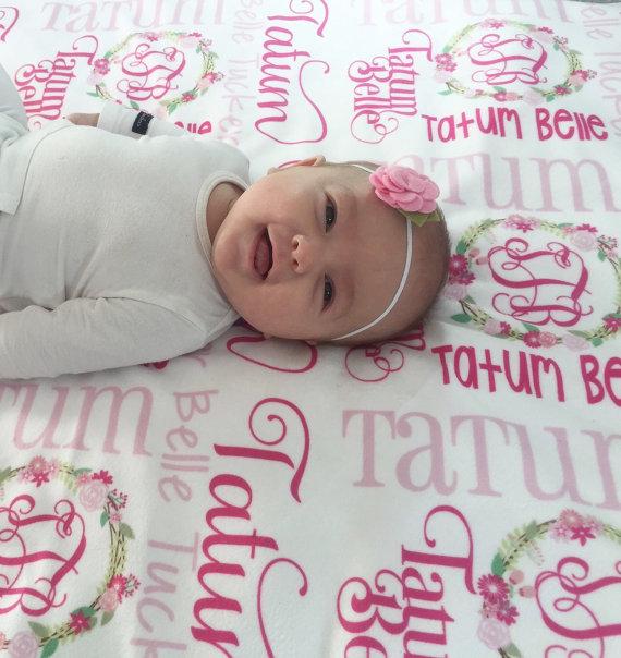 Baby Girl Blanket Personalized Baby Blanket Custom Baby Blanket Embroidered Baby Blanket Baby Blanket Personalized Baby Shower Gift