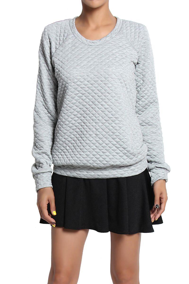 TheMogan Quilted Raglan Long Sleeve Pullover Sweatshirt