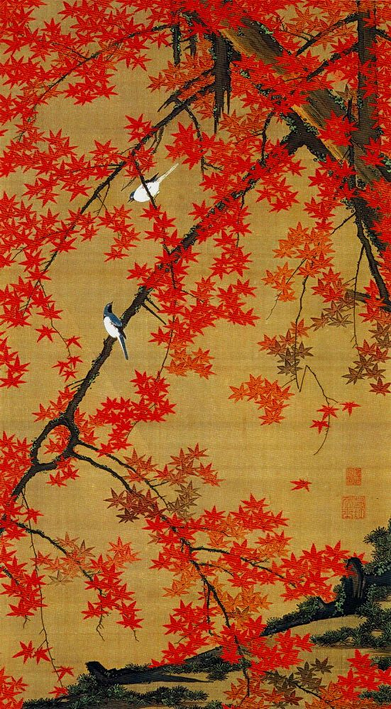 Ito Jakuchu 動植綵絵 Doshoku Sai-e Title:紅葉小禽図 Koyo Shokin-zu(Maple Tree and Small…