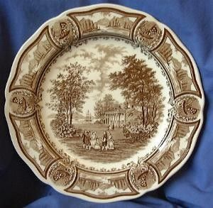 Decorative Dishes - Brown Toile Transferware Mansion Women Vintage Plate $34.99 (/ & Decorative Plate - Brown Toile Transferware Mansion Women Vintage ...