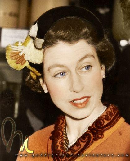 Queen Elizabeth II! Black&white photo coloured by me.
