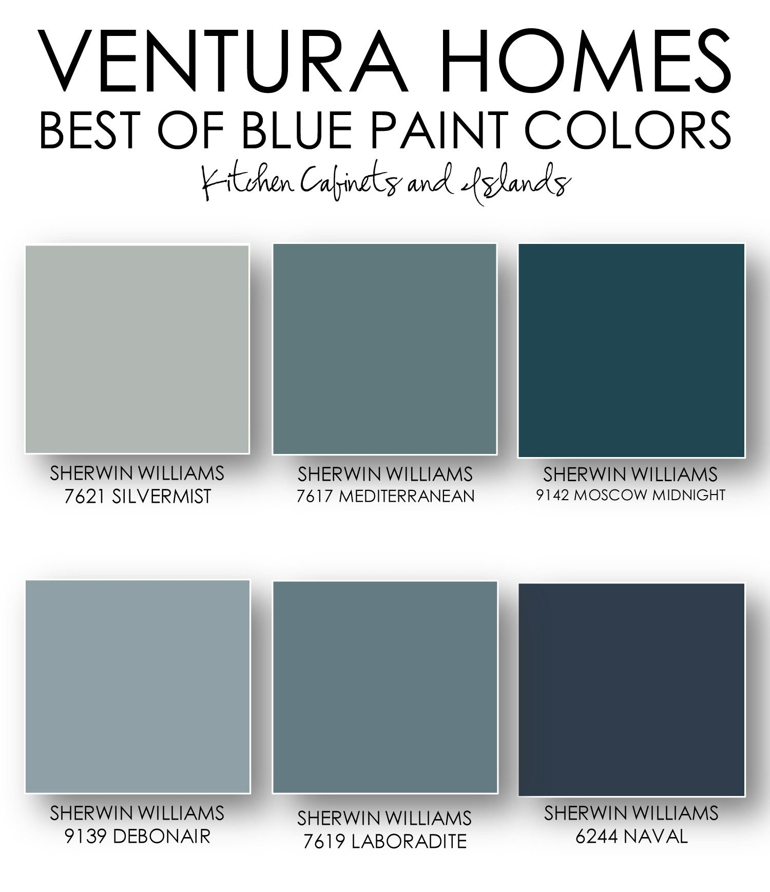 Venturahomestx Curated This Collection Of The Best Blue Paints For Cabinets And Islands Featuring Moscow Midnight Sw 9142 Naval 6244 More