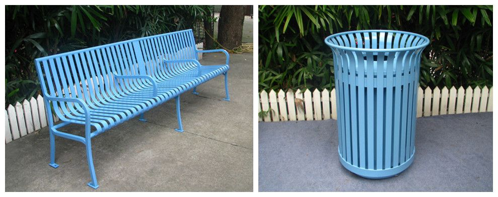 Superb Perfect Matched Powder Coatd Light Blue Outdoor Long Bench Customarchery Wood Chair Design Ideas Customarcherynet