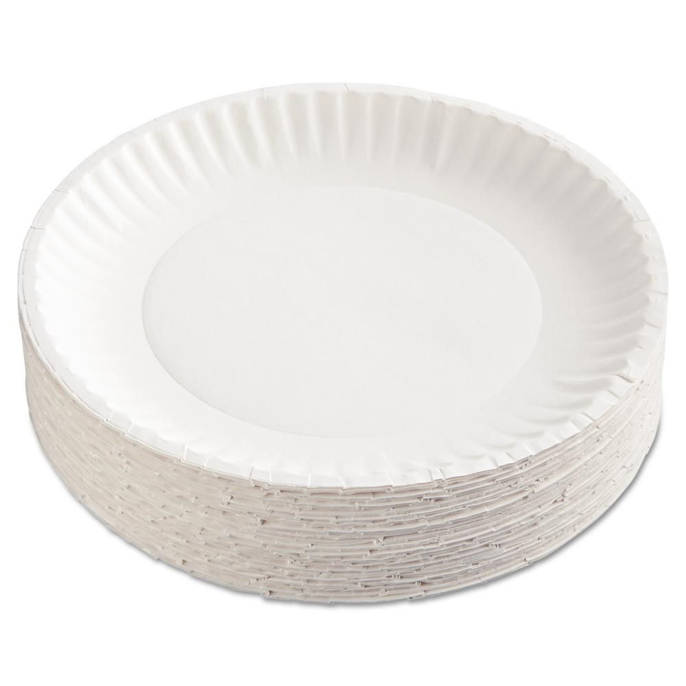 Green Label 9 in  Uncoated Paper Plates in White (1200 Per