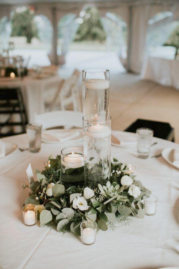 Greenery Wedding Decor, Round Table Centerpieces Wedding