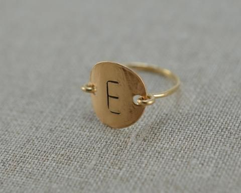 Personalized Custom Letter Initial Monogram Stamped Hammered Round Disk Ring.